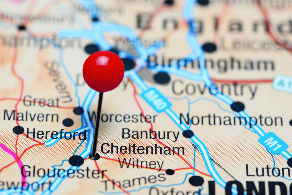 Cheltenham pinned on a map of UK